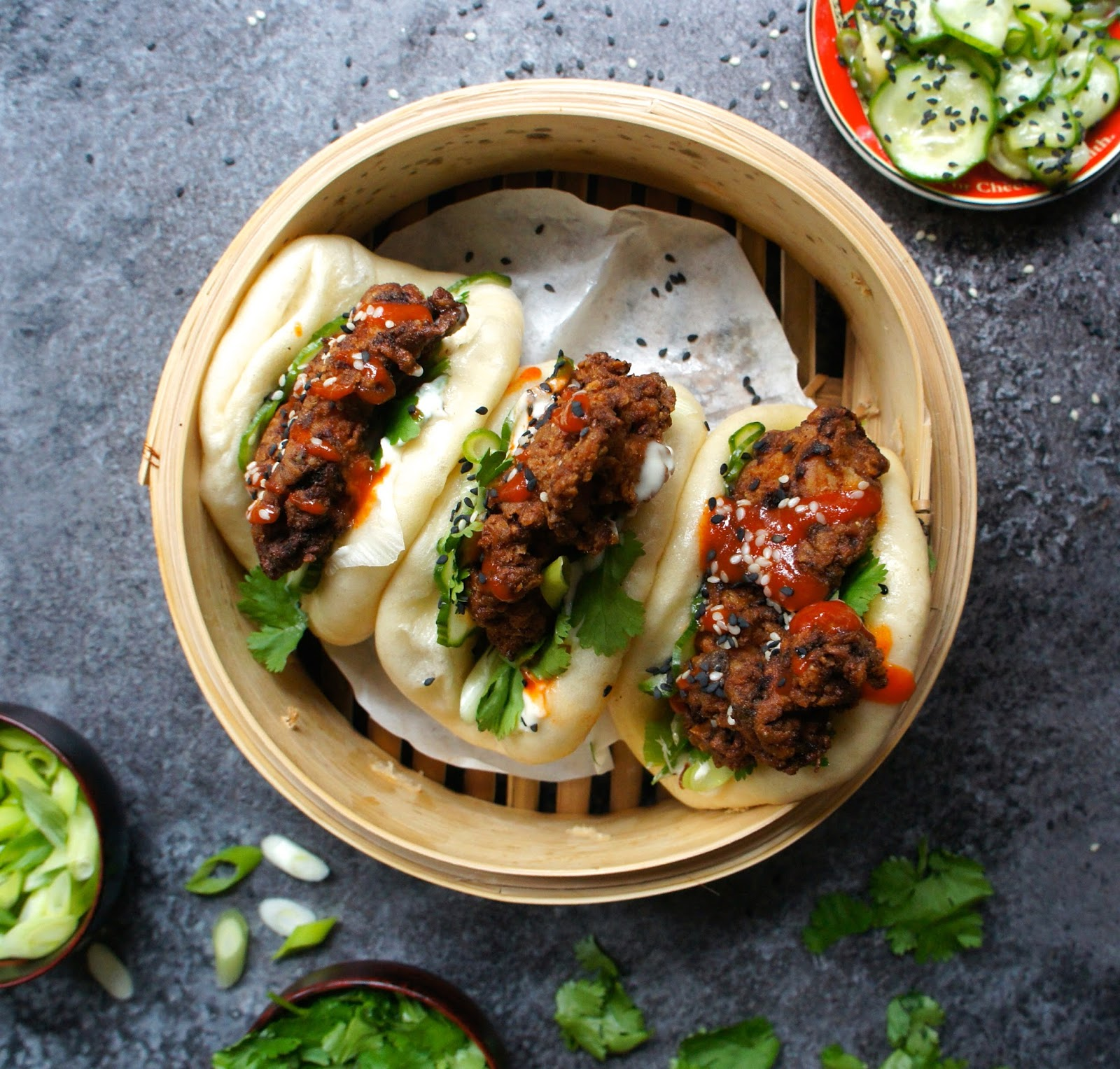 Gua bao with spicy fried chicken Notes of Bacon