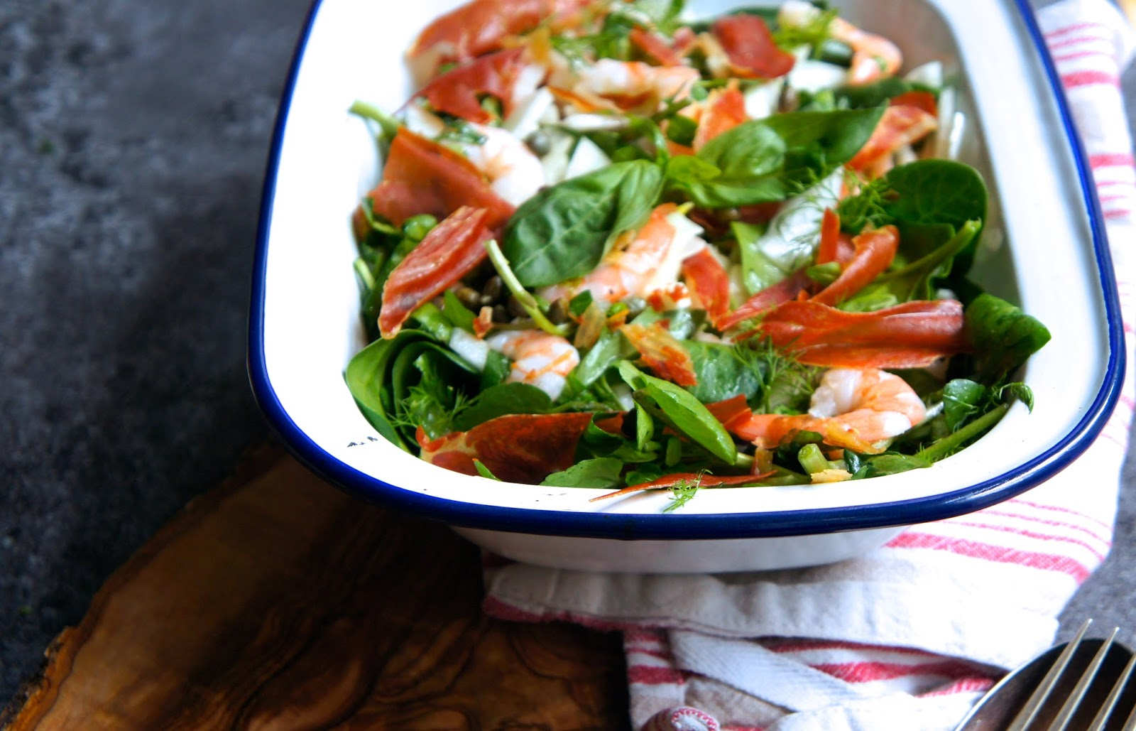 Fennel & Prawn salad with crispy Prosciutto – Notes of Bacon